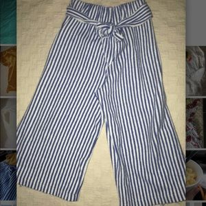 VGUC ZARA girls striped gaucho woven pants size 5